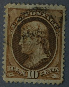 United States #209 10 Cent Hamilton Reengraved Brown Used