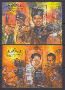 Malaysia Sc 707-708 MNH. 1999 Seniman Agung Pramlee, cplt set of 2 Souv Sheets