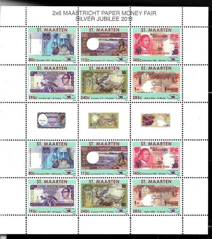 #1967 NETHERLAND(DUTCH) ANTILLES ST MARTEN 2011 NATIONAL BANKNOTES MINISHEET MNH