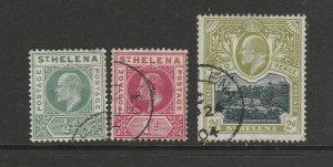 St Helena 1902  EDV11 Pair FU SG 53/4 also 2d SG 57 FU