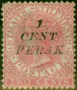 Perak 1886 1c on 2c Pale Rose SG28 Good Mtd Mint