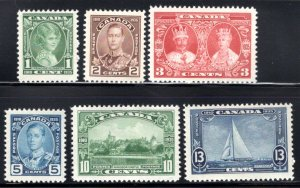 Scott 211-216, Complete Set, MNHOG, F/VF, King George V Silver Jubilee, Canada