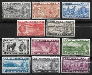 Doyle's_Stamps: Scott #233** to #243** Newfoundland 1937 Commemorative NH Set