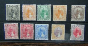 Perak 1938 - 41 values to 40c MM some values yellowed gum see photos