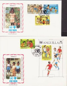 ANGUILLA CARRIBEAN YEAR OF CHILD SOCCER 1979 4 FDC's 17436
