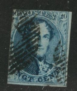 Belgium Scott 11 Used Kng Leopold I 20c blue 1861 CV$9