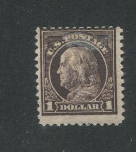 1917 US Postage Stamp #518 $1 Mint Hinged Average Original Gum Offset on Back
