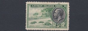 CAYMAN ISLANDS  1935 SG 106 5/- GREEN & BLACK  MH C £65 TONED  OLD HINGE REMAINS