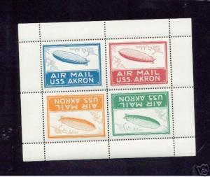 USS Akron Sheet Roessler cinderella zeppelin stamps MNH