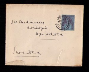 GB UK Postal History Cover Sg201 2½d Marlborough England to Stockholm Sweden
