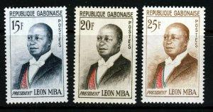 GABON 1962 President Leon Mba Set SG 181 to SG 183 MNH