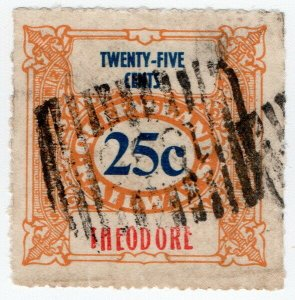 (I.B) Australia - Queensland Railways : Parcel Stamp 25c (Theodore)