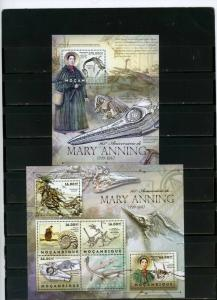 MOZAMBIQUE 2012 PREHISTORICAL ANIMALS/MARY ANNING SHEET OF 6 STAMPS & S/S MNH