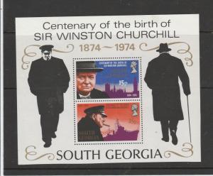 South Georgia 1974 Churchill MS UM/MNH SG MS42