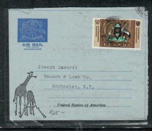 UGANDA  COVER (P3008B) BIRD  FORMULA AEROGRAM +BIRD 50C SENT TO USA
