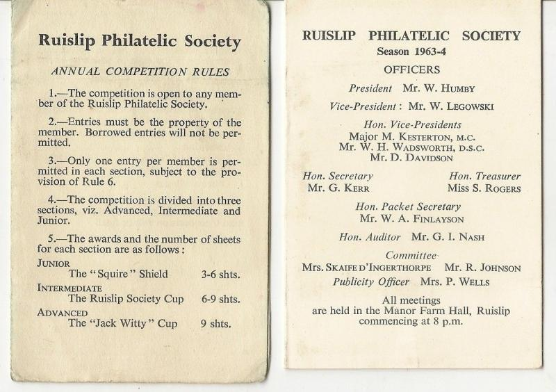 Ruislip Philatelic Society 1964 Programme & Competition