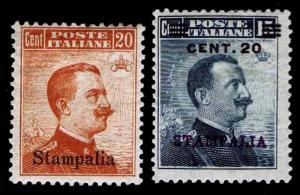 1916-17 ITALY - AEGEAN ISLANDS - STAMPALIA #10-11 OGH - F/VF - CV$84.00 (E#1548)