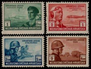 ✔️ CROATIA 1943 - SOLDIERS AVIATION - PERF L11 - SC. B33/B36 ** MNH OG [CR107]