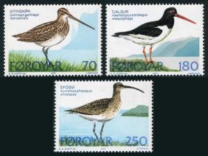 Faroe 28-30,MNH.Michel 28-30. Birds 1977.Common Snipe,Oyster-catcher,Whimbnei.