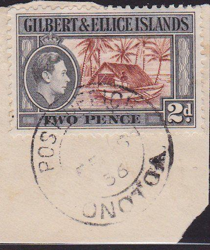 GILBERT & ELLICE IS GVI on 1956 piece POST OFFICE / ONOTOA cds..............2687