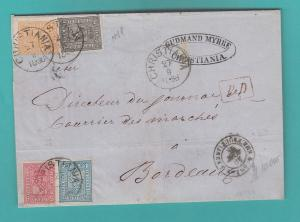 NORWAY 4 COLOR OLD COVER 1868  TO FRANCE EXHIBITION ITEM !