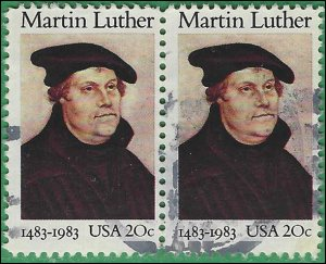 #2065 20c Martin Luther 1983 Used Attached Pair