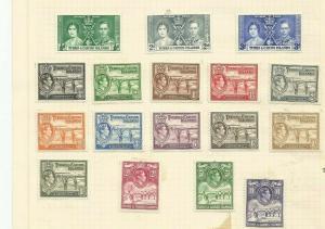 TURKS AND CAICOS 1938-45SCOTT 78-89 MH SCV $81