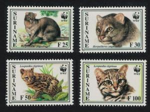 Suriname WWF Little Spotted Cat and Jaguarundi 4v SG#1631-1634 MI#1514-1517
