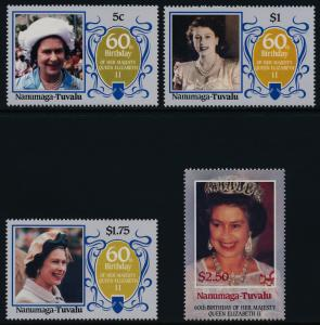 Tuvalu Nanumaga 52-5 MNH Queen Elizabeth 60th Birthday