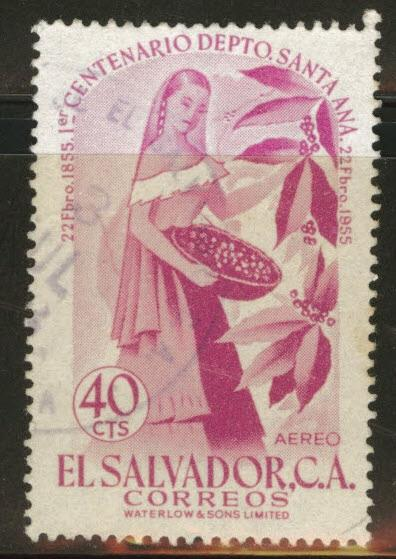 El Salvador Scott C170 Used 1956 airmail stamp