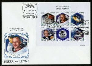 SIERRA LEONE 2020 90th  BIRTH ANNIVERSARY OF BUZZ ALDRIN APOLLO 11  SHEET   FDC