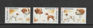 CROATIA #233-235 1995 HUNTINGS DOGS MINT VF NH O.G