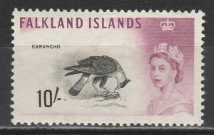 FALKLAND ISLANDS 1960 QEII BIRD 10/- MNH **