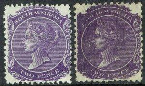 SOUTH AUSTRALIA 1876 - 1904 QV 2D WMK CROWN/SA PERF 13 AND PERF 12 X 11½