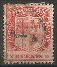 MAURITIUS, 1910, used 6c, Coat of Arms Scott 142