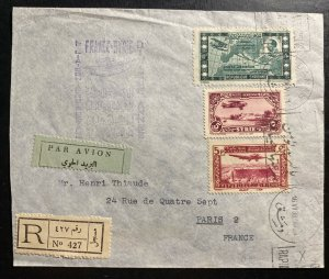 1938 Damascus Syria Special Flight Airmail Cover to Paris France