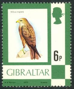 GIBRALTAR 1977-80 QE2 6p Black Kite BIRD Scott 347  MNH