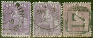 Trinidad 1869 set of 3 1s Shades SG73, 73a & 73b Fine Used