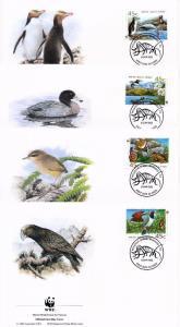 [53609] New Zealand 1993 Birds Vögel Oiseaux Ucelli WWF FDC Frog Snail 4 covers