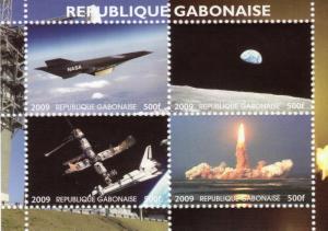 Gabon 2009 SPACE Nasa Ares Program Sheet Perforated mnh.vf