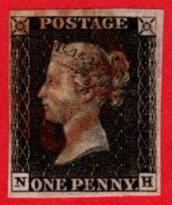 GBR SC #1 U (N,H) 1840 Queen Victoria 4 margins w/red MC CV $390.00