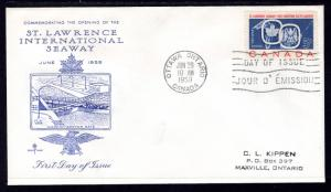 Canada 387 St Lawrence Seaway Rose Craft Typed FDC