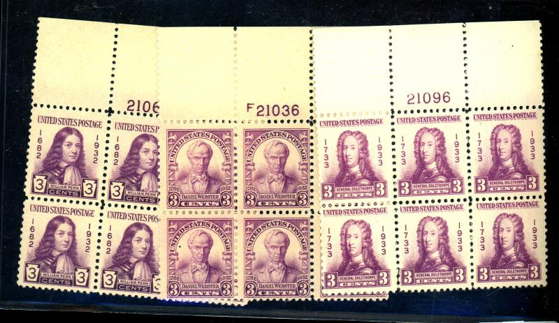 724-6 MINT Plate Blocks F-VF OG NH Cat $48
