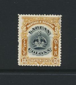 LABUAN NORTH BORNEO 1902, 18c VF USED SG#125 (SEE BELOW)