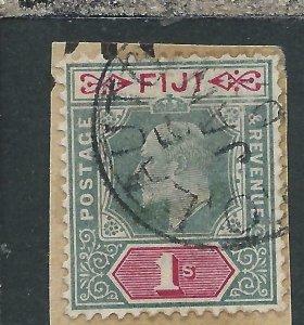 FIJI 1903 1s GREEN & CARMINE FU ON PIECE SG 112 CAT £80