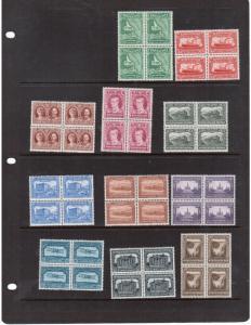 Newfoundland #172 - #182 Very Fine Mint Set In Blocks
