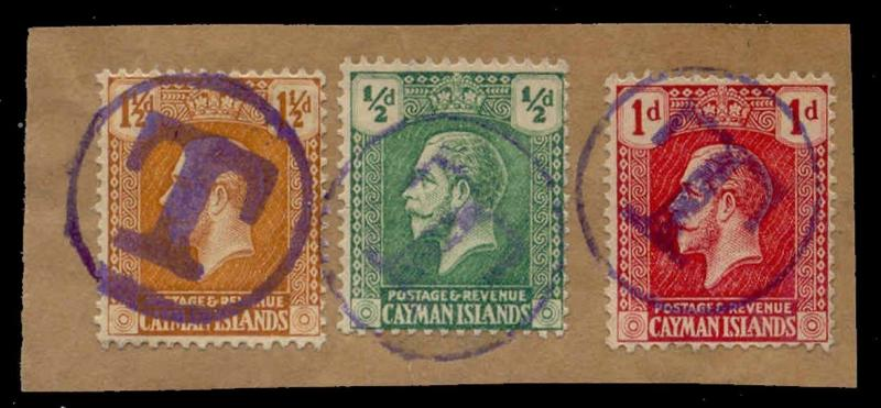Cayman Islands 1921 11/2d+1/2d+1d w/ Postage Due T Strikes in Violet on Piece