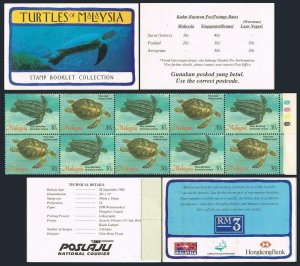 Malaysia 562-563a booklet,MNH.Michel 571-572 MH. Turtles 1995.