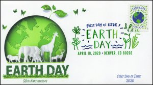 20-083, 2020, Earth Day, Digital Color Postmark, First Day Cover, Earths Animals