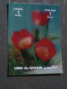 QIWAIN STAMP - LOVELY COLORFUL RED FLOWERS- AIRMAIL- 3-D STAMP MNH #3